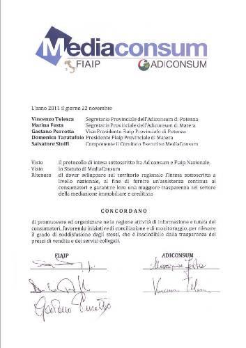 22 Novembre 2011- Fiaip Basilicata ed Adiconsum firmano un protocollo d'intesa