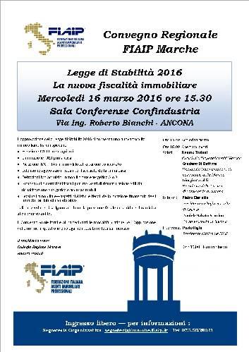 Ad Ancona Convegno Fiaip sulla Legge di Stabilita' 2016