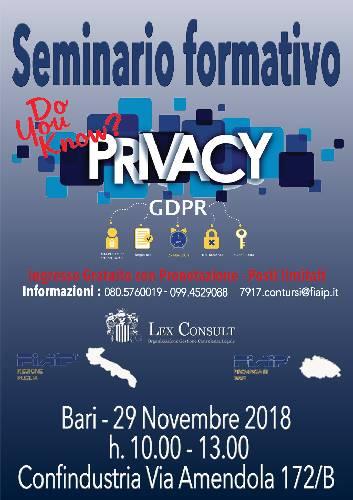 ADEMPIMENTI PRIVACY - GDPR 2018 -
