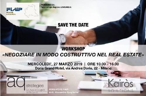 """A Milano Workshop formativo: """"Negoziare in modo costruttivo nel Real Estate"""""""