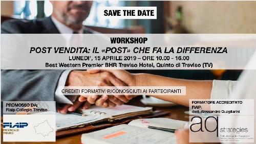 """A Treviso workshop formativo: """"Post-Vendita.Il Post che fa la differenza"""" – 15 aprile 2019"""