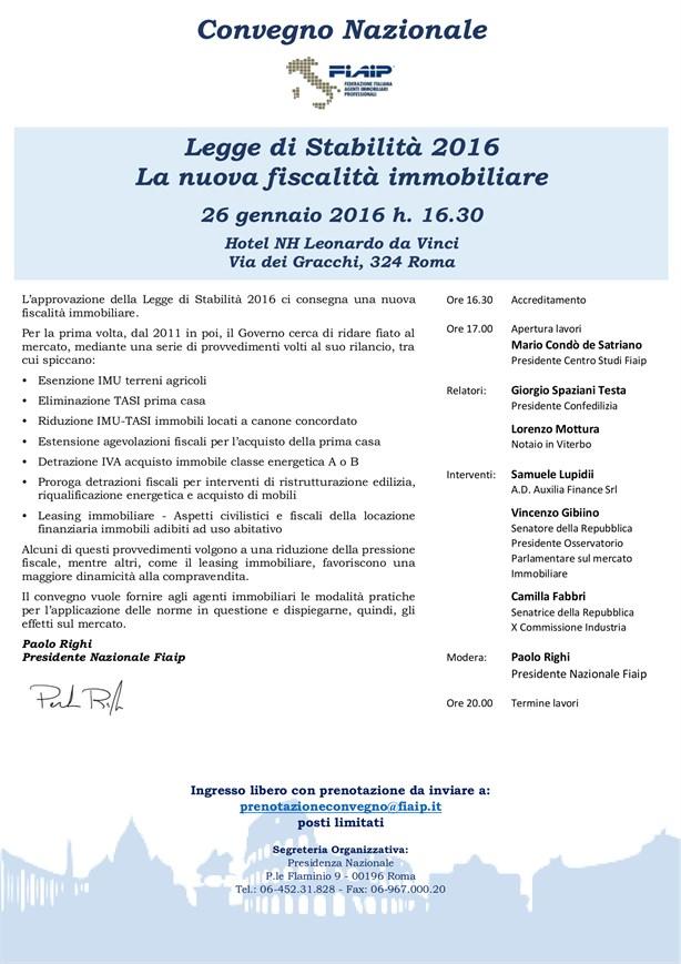 Convegno Nazionale FIAIP – Legge di Stabilità 2016 – La nuova fiscalità immobiliare
