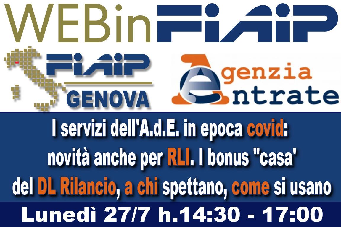 A Genova Webinar FIAIP: 'I servizi dell'Agenzia delle Entrate all'epoca del COVID-19'