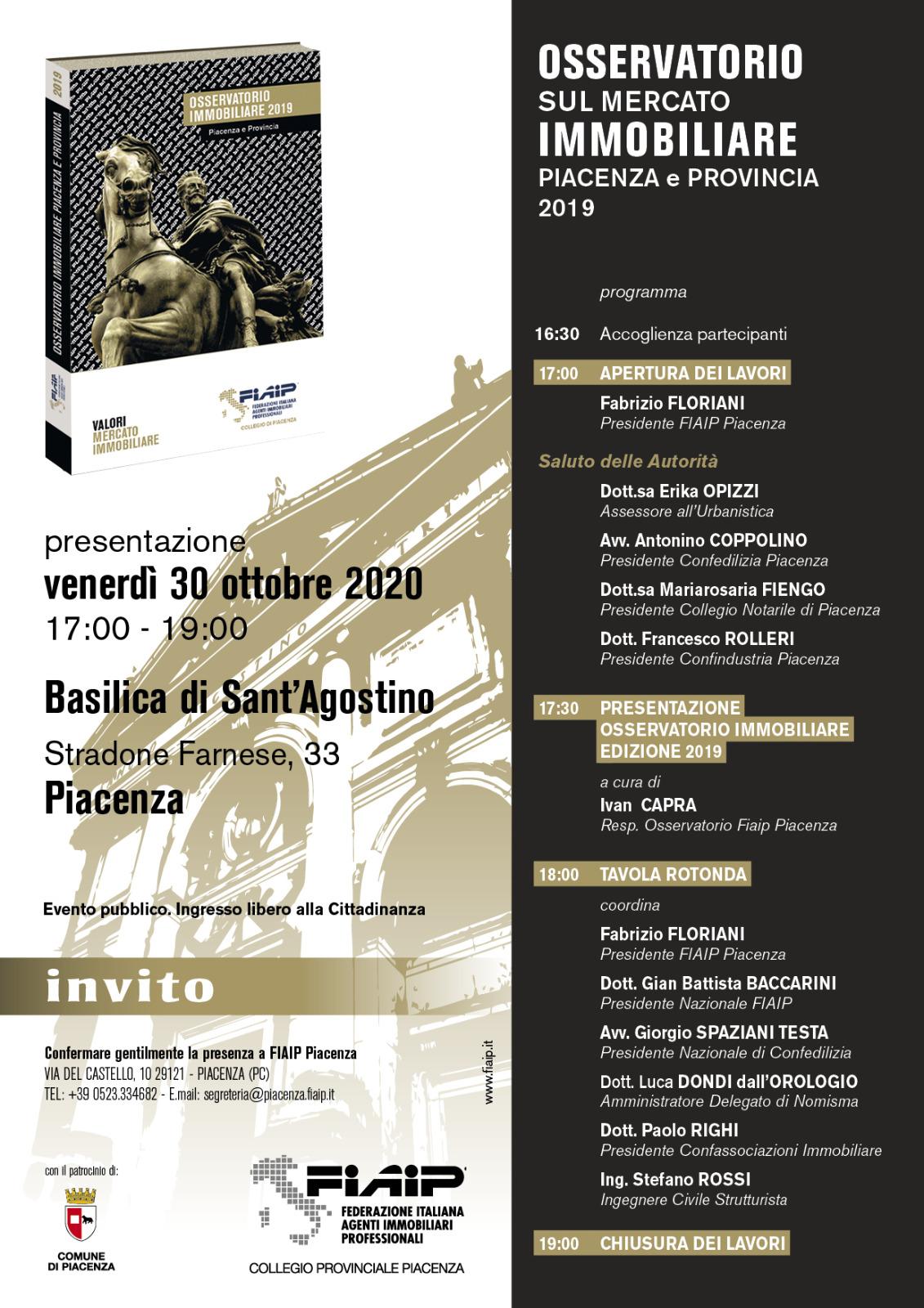 A Piacenza Fiaip presenta l'Osservatorio immobiliare