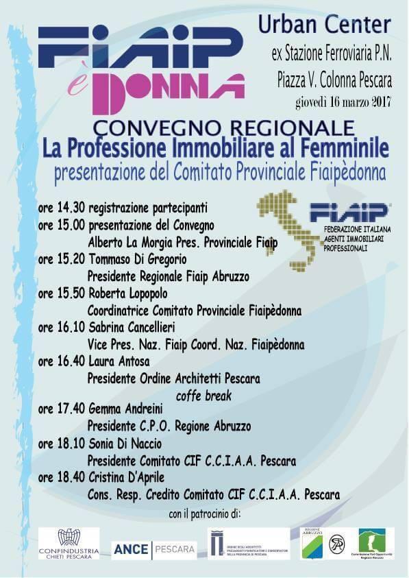 A Pescara Il 16 Marzo convegno Fiaip sulla professione immobiliare al femminile
