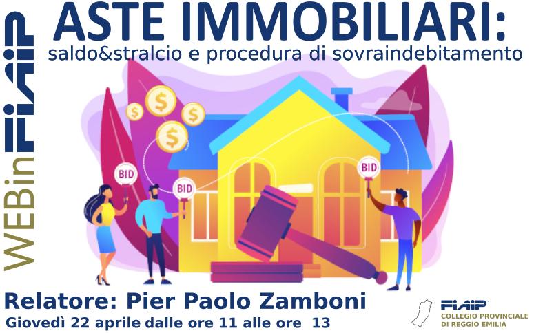 """A Reggio Emilia Webinar """"Asta, saldo e stralcio, procedura di sovraindebitamento"""""""